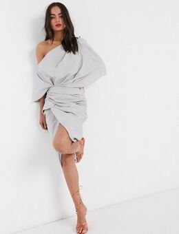 Gedrapeerde asymmetrische midi-jurk van linnen-Grijs