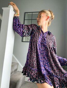 Lost In You - Aangerimpeld jurk met bloemenprint in zwart-Meerkleurig