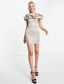 Mini bardot-jurk met ruches in crème-Wit