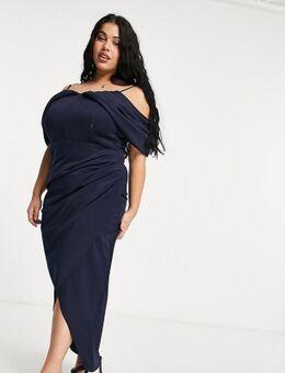 Jaded Rose - Plus - Gedrapeerde maxi jurk met blote schouders in marineblauw