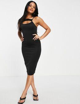 Midi-jurk met uitsnijding in zwart
