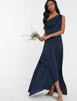 Lange jurk voor bruidsmeisjes met een blote schouder in marineblauw-Grijs