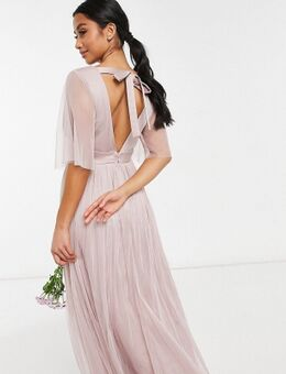 Anaya With Love - Petite - Lange bruidsmeisjesjurk van tule met fladdermouwen in roze