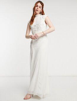 Bruidskleding - Geborduurde lange jurk met open rug versierd met kralen in ivoor-Wit