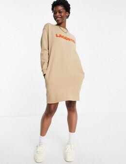 Hoogsluitende sweaterjurk met logo in beige-Neutraal