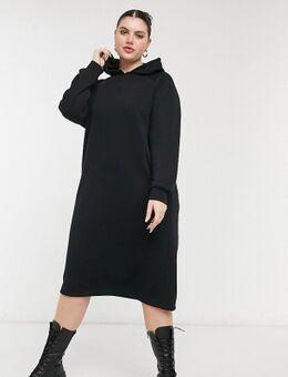 Noisy May - Curve - Midi sweaterjurk met capuchon en rits aan de zijkant in zwart