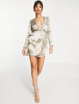 Mini-jurk met overslag van glanzend satijn-Grijs