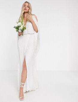 Samantha - Bruidsjurk met kraaltjes en gedrapeerde mouwen-Wit