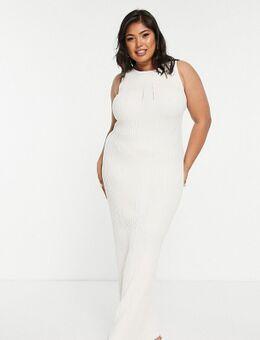 'Dry handle' geribbelde maxi jurk in crème-Wit