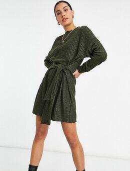 ASOS DESIGN Tall - Geborstelde geribbelde mini jurk met gestrikte taille in donkerkaki-Groen