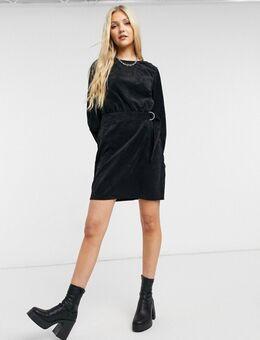 Mini-jurk met riem van corduroy in zwart