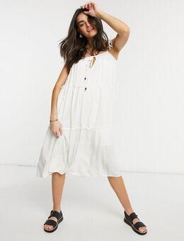 Olivia - Midi jurk met stroken-Wit
