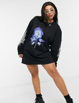 Oversized T-shirtjurk met lange mouwen en grunge rozenprint-Zwart