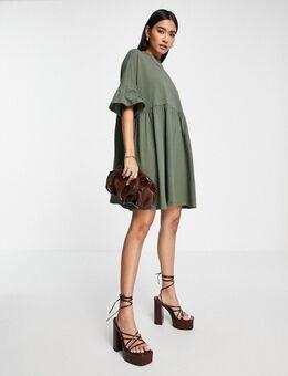 Extra oversized aangerimpelde jurk met mouwen met ruches in kaki-Groen