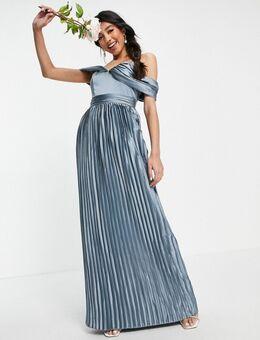Lauren - Satijnen jurk in blauw