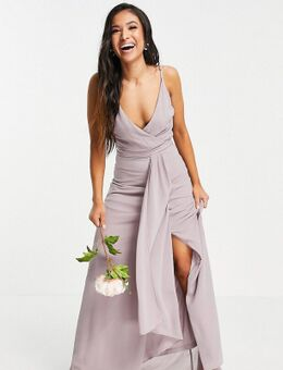 Bruidsmeisjes - Maxi jurk met camibandjes, overslag en fishtail in lichtgrijs