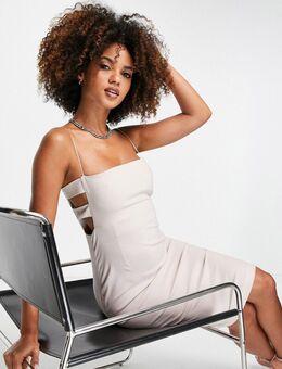 Midi jurk met uitsnijding in taupe-Neutraal
