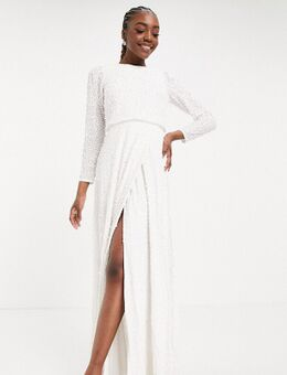 Maxi jurk met versiering, lange mouwen en split in wit