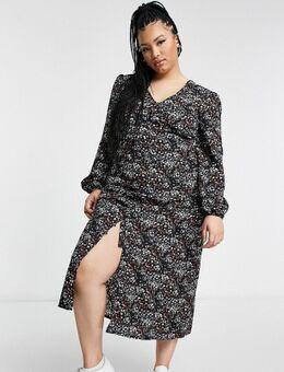 Midi jurk met knopen in zwart met bloemen