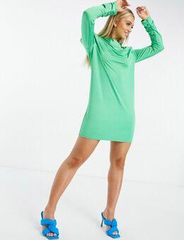 Slankvallende mini-jurk met gedrapeerde halslijn, lange mouwen en schoudervullingen in felgroen
