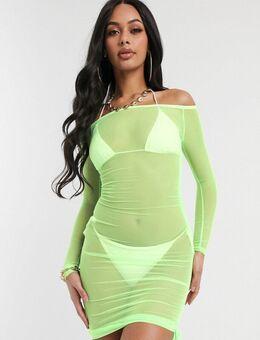 Bodycon-jurk met blote schouders-Groen