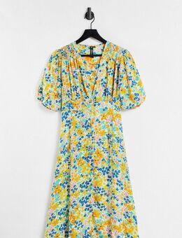 Midi-jurk in gele bloemenprint-Meerkleurig