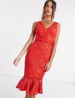 Kanten bodycon-jurk met strook in rood