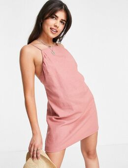Jaren 90 mini jurk met open achterkant in roest-Rood