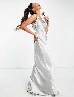 Keisha - Lange jurk met gedrapeerde halslijn in mat bleek blauw