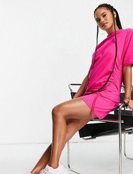 T-shirtjurk met rimpeleffect in roze