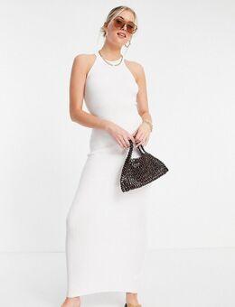 Lange jurk met halternek in wit