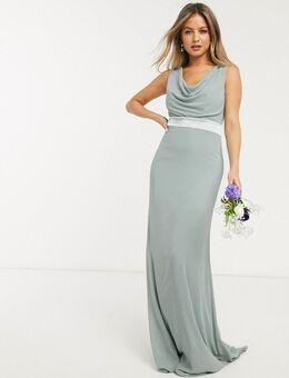 Lange jurk met gedrapeerde halslijn en strik aan de achterkant in saliegroen - Bruidsmeisje