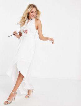 Bruidskleding - Satijnen midi-jurk met overslag, halternek en kanten inzetstukken in wit-Beige