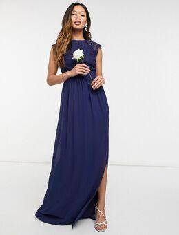 Bruidsmeisjes - Lange jurk van kant met open achterkant in marineblauw