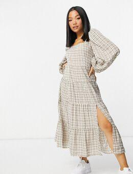 Lange jurk in bruine ruit