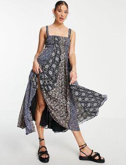 Come together - Midi cami-jurk met patchwork bloemenprint-Zwart