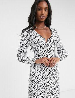 Glamorous - Tall - Mini-jurk met V-hals en stippen-Zwart