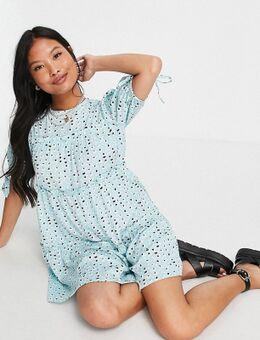 Influence - Petite - Rechtvallende jurk met stroken in blauw met bloemenprint-Meerkleurig