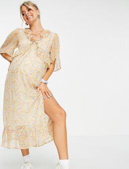 Violet Romance - Zwangerschapskleding - Midi-jurk van chiffon met ruches voor in bloemenprint-Meerkleurig