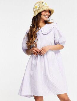 Aangerimpelde mini jurk met kraag en gingham ruit in pastelkeur-Paars