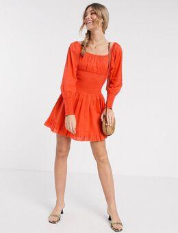 Azure - Mini-jurk met aangerimpelde taille en vierkante halslijn in rood