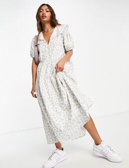 Aangerimpelde midi-jurk met pofmouwen, vintage geborduurde kraag en fijne bloemenprint-Wit