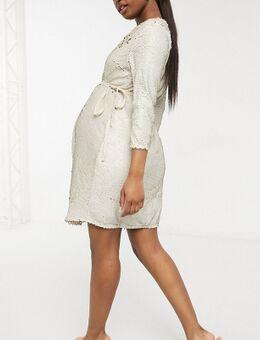 Fluwelen mini-jurk met overslag aan de voorkant in ivoor-Wit