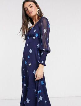 Midi-jurk met sweetheart halslijn en sterrenprint in kleurschakering-Marineblauw