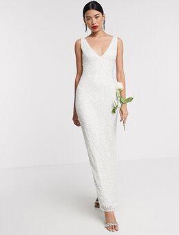 Bridal - Lange jurk met versiering in ivoorwit