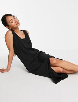 Ruimvallende rechte jurk in linnen-Zwart