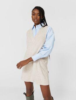 Korte hemdtrui-jurk in beige-Neutraal
