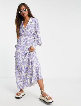 Midi jurk met bloemenprint in lichtblauw