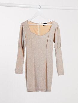 Mini-jurk met pofmouwen in metallic lichtroze-Neutraal