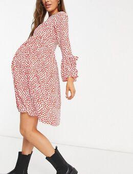 Zwangerschapskleding - Mini-jurk met ruches aan de mouwen in wit met rode stippen-Rood